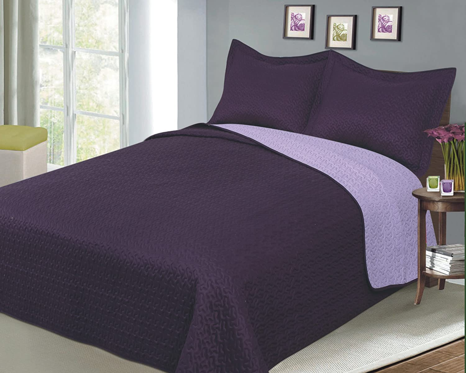 Reversible Solid Color Mini Quilt Sets, Twin, Plum/Lilac