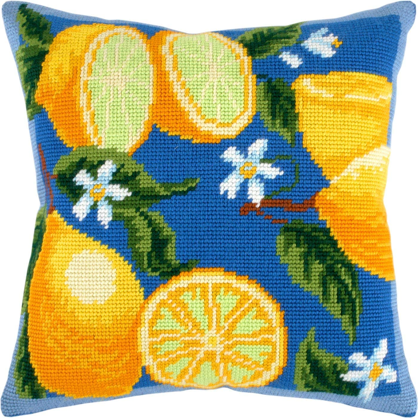 Printed Tapestry Canvas European Quality Throw Pillow 16/×16 Inches Needlepoint Kit Lemons