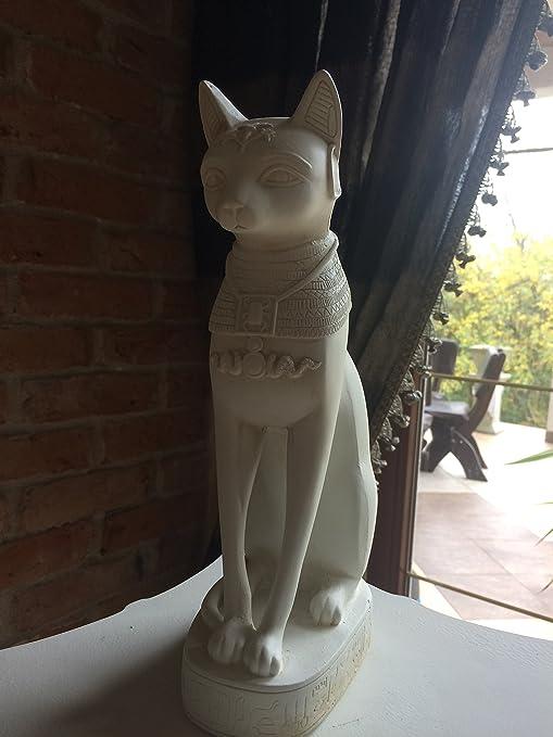 Sensation Egipcio Bastet Gato Estatua en Color Blanco skrab? Nos Gato Estatua Figura