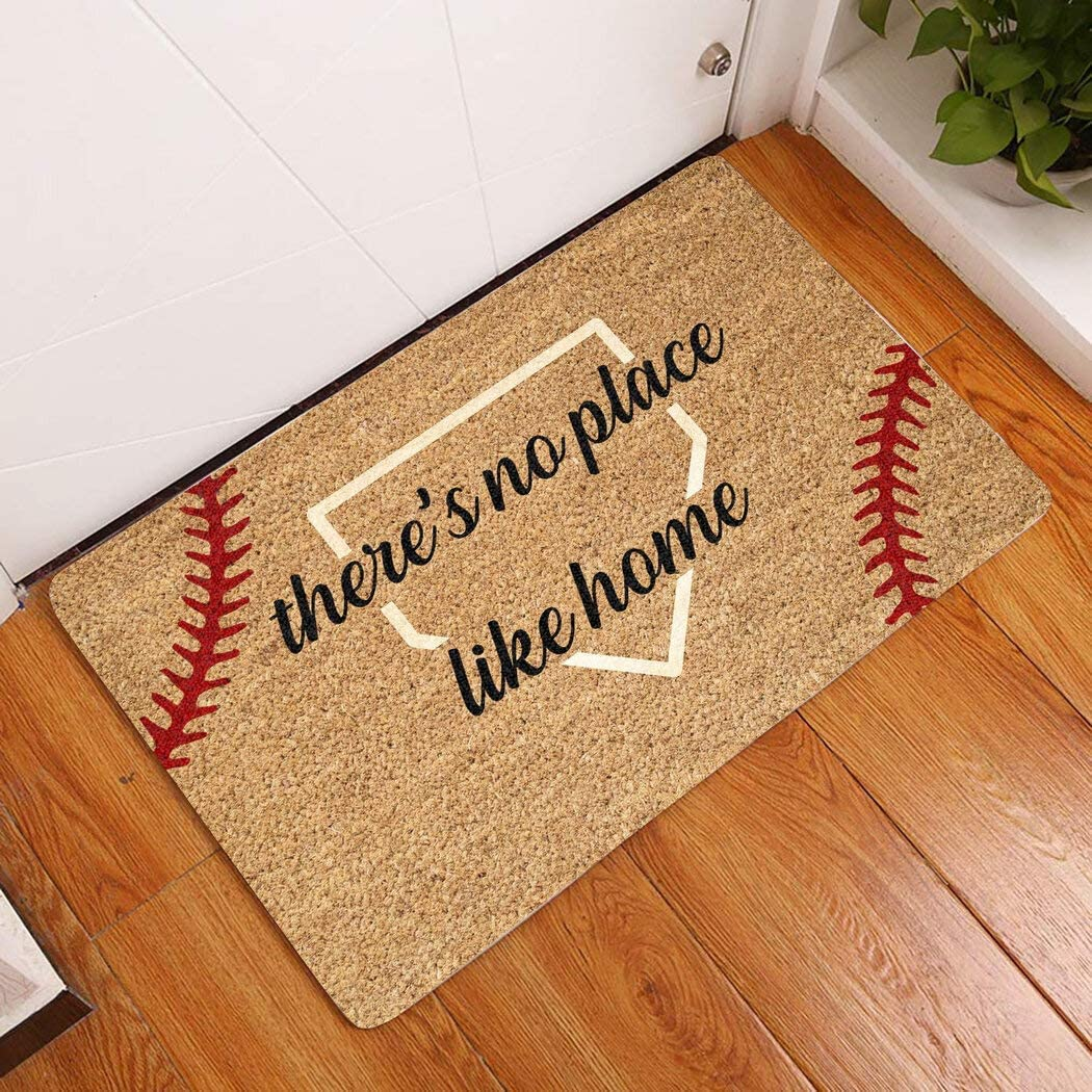 There's No Place Like Home Doormat, Baseball Doormat, Gift for Baseball Lover