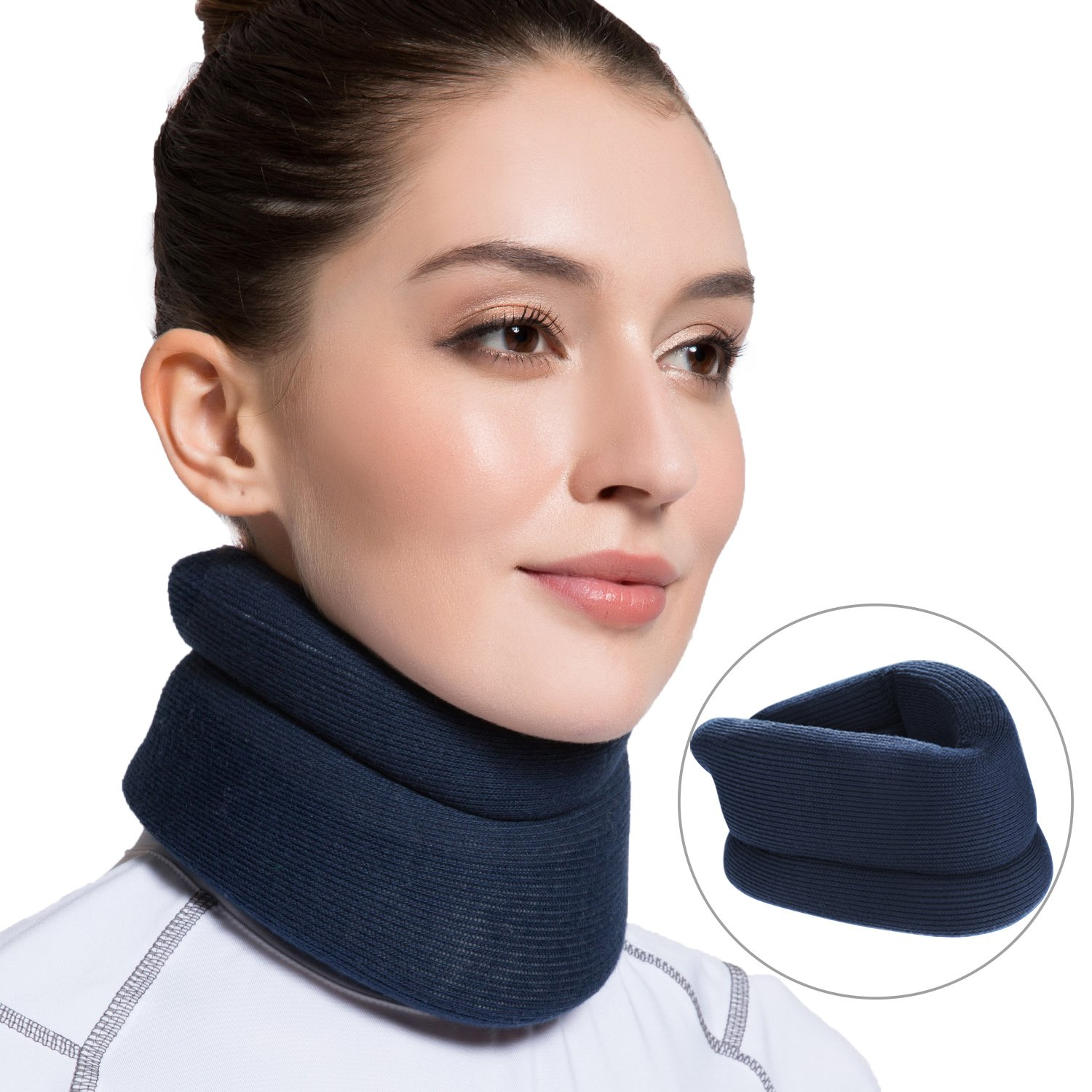 Velpeau Neck Brace -Foam Cervical Collar - Soft Neck Support Relieves Pain & Pressure in Spine - Wraps Aligns Stabilizes Vertebrae - Can Be Used During Sleep (Classic, Blue, Large)
