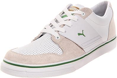 PUMA Mens El Ace 2 Nubuck Leather Sneaker      White Pale Gold Mint Green