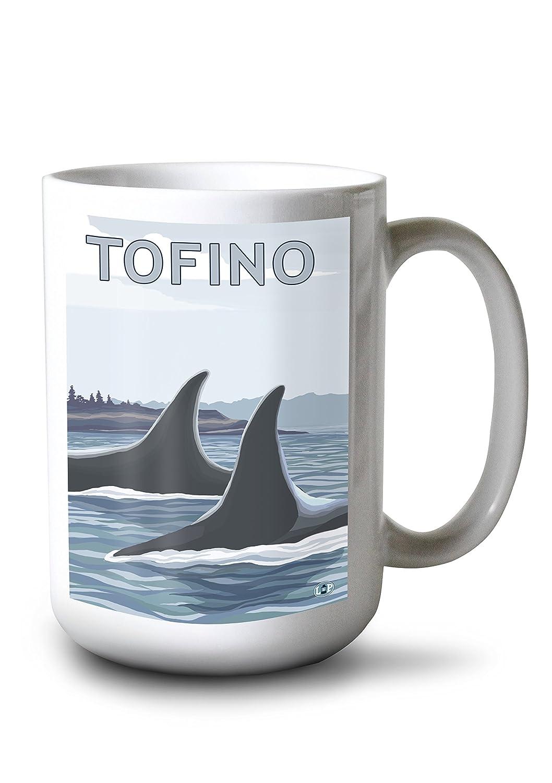 Tofino、カナダ – Orcaフィン 15oz Mug LANT-3P-15OZ-WHT-19421 B077S1XKVX  15oz Mug