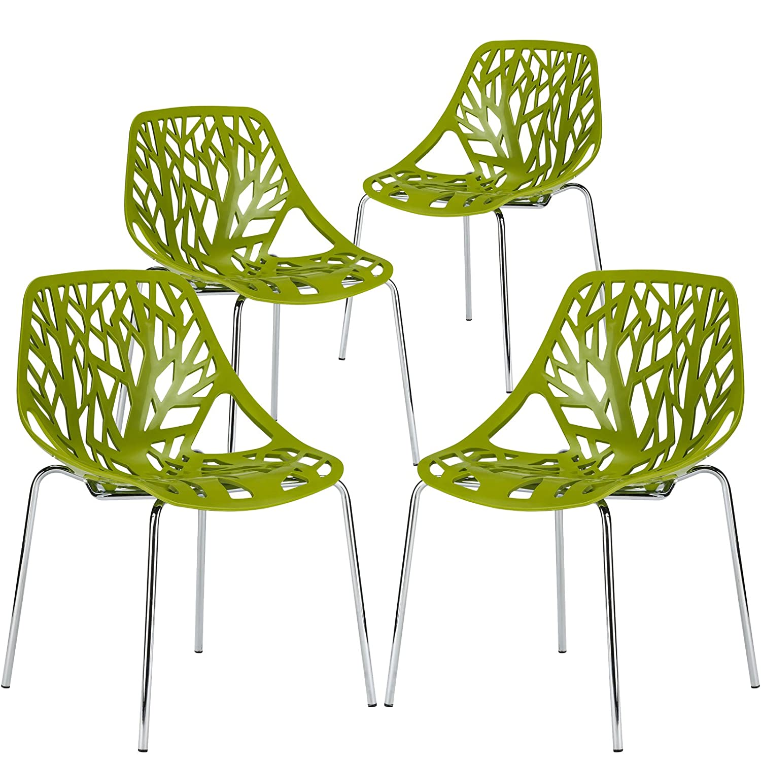 Poly and Bark Modern Mid-Century Birds Nest Dining Side Chair in Green with Chrome Legs (Set of 4)