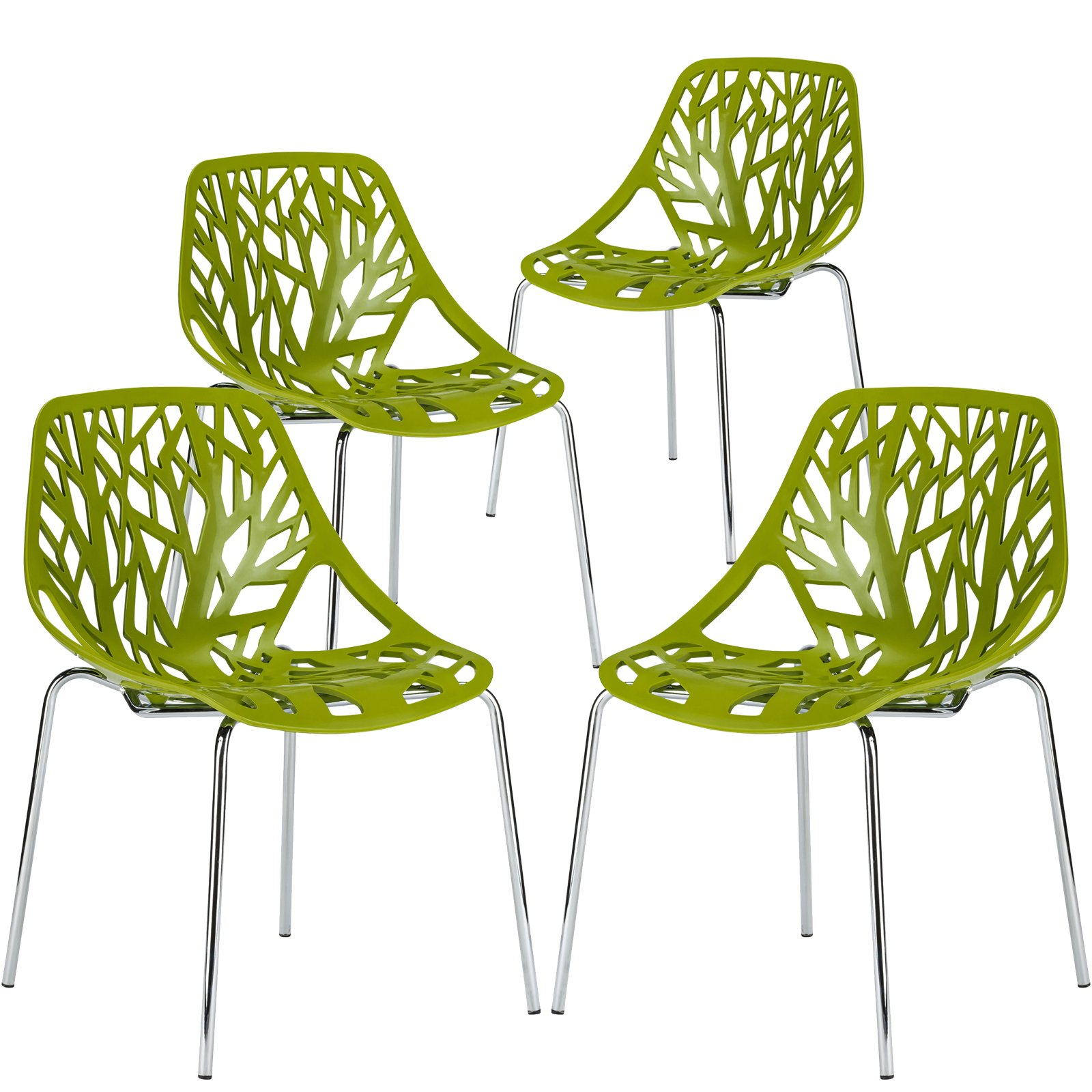 Poly and Bark Modern Mid-Century Birds Nest Dining Side Chair in Green with Chrome Legs (Set of 4) by POLY & BARK