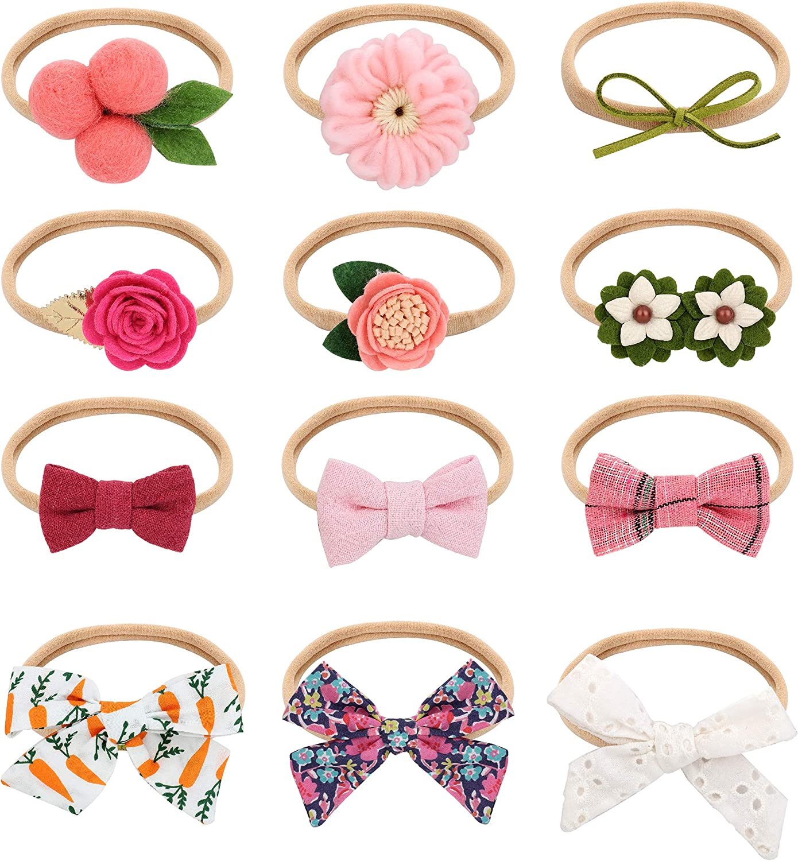 Adramata 12pcs Baby Girl Headbands Infant Ribbon Hairband Chiffon Floral Headwear Flower Bow Newborn Hair Bands Toddler Headbands for Girls