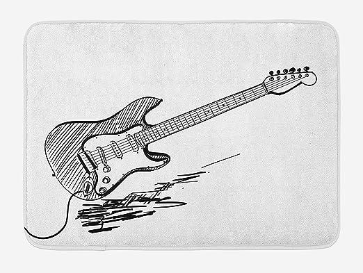 BAIF Estera para baño de Guitarra, Estilo Dibujado a Mano Guitarra ...
