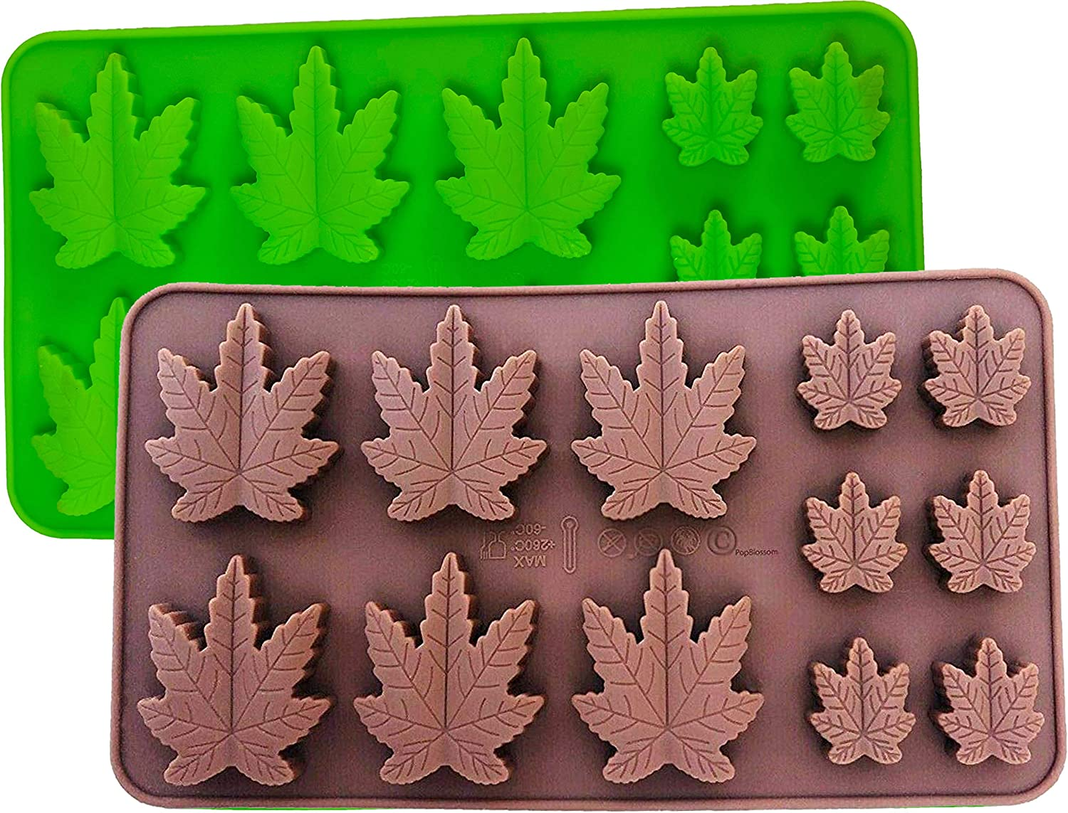 Set of 2 X Silicone Marijuana Lollipop Gummy Brownies Had Candy Cannabis Weed Edible Leaf Mold Ice Cube Chocolate Soap Candle Tray Party Maker (Green + Brown)