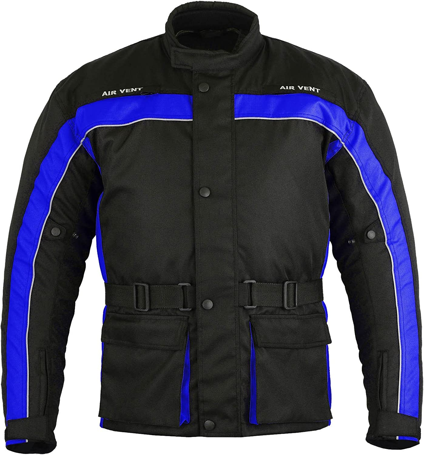 Full Black, 5X-Large Waterproof All Weather Motorbike Jacket Coat Motorcycle Gears in Cordura Fabric and CE Approved Armour Long Coat Style Design