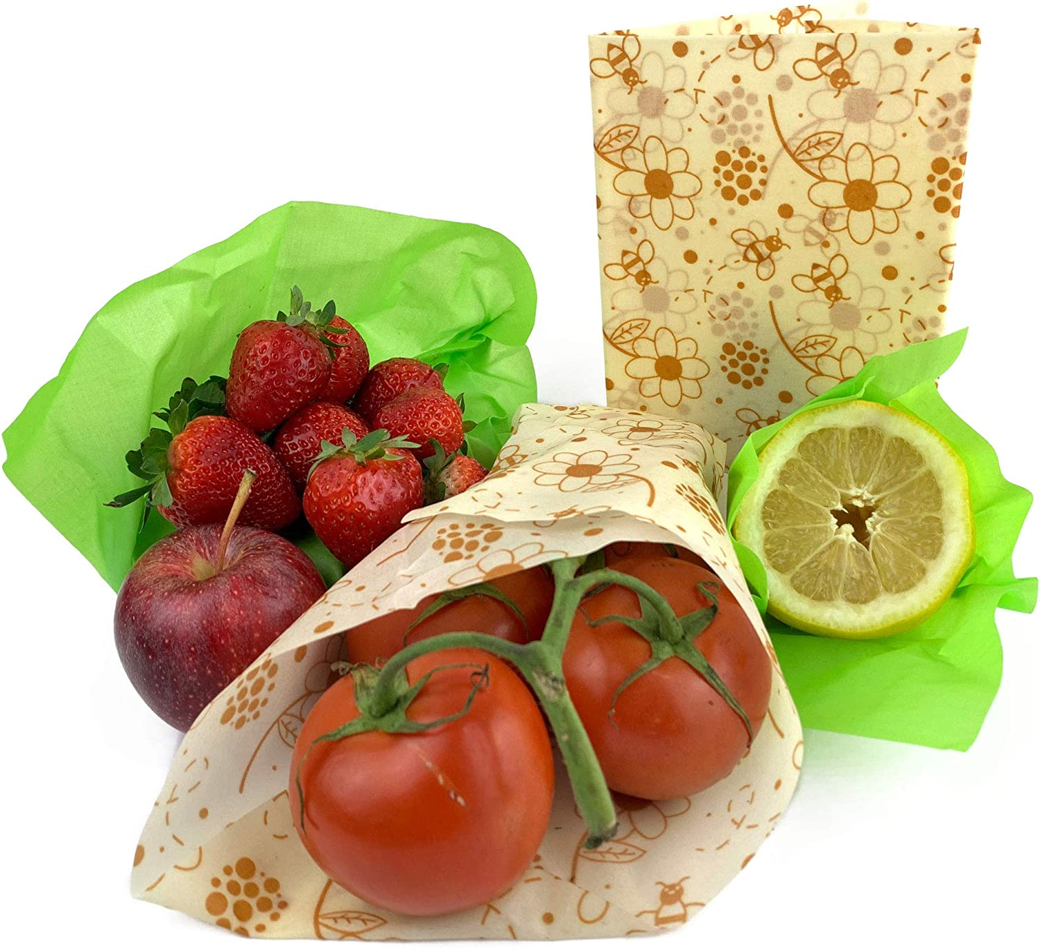 Beeswax Reusable Food Wraps. Sandwich Wrappers and Bowl Covers. Plastic-Free Food Storage Alternative. 4 Pack. Also includes 2 stainless steel straws.
