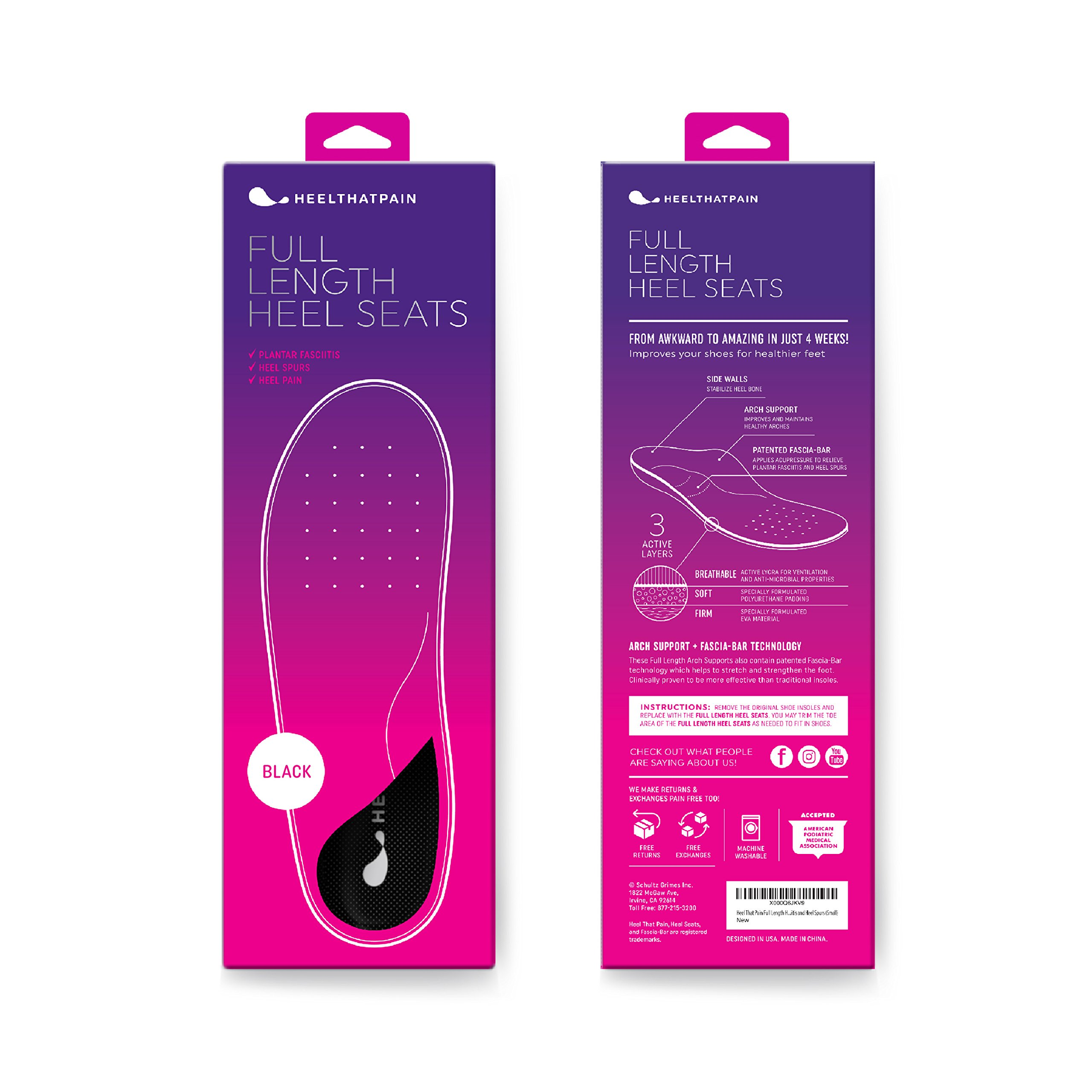 Heel That Pain Plantar Fasciitis Insoles | Full Length Heel Seats Foot Orthotic Inserts with Arch Support for Treating Heel Pain and Heel Spurs | Patented, Clinically Proven, 100% Guaranteed (XL)