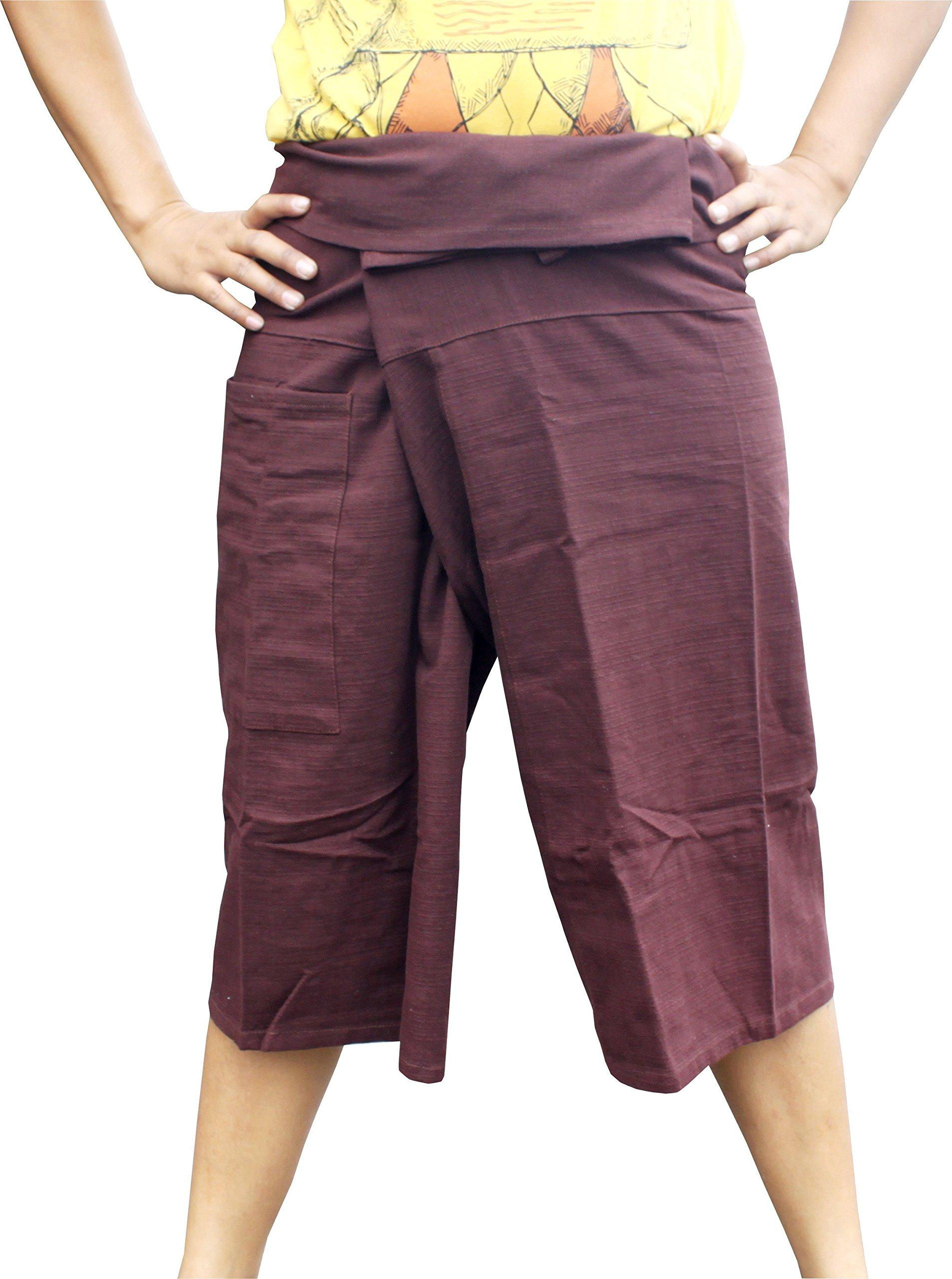 Raan Pah Muang Brand Thick Line Cotton Thai Fisherman Capri Wrap Pants, X-Large, Sienna Brown by Raan Pah Muang