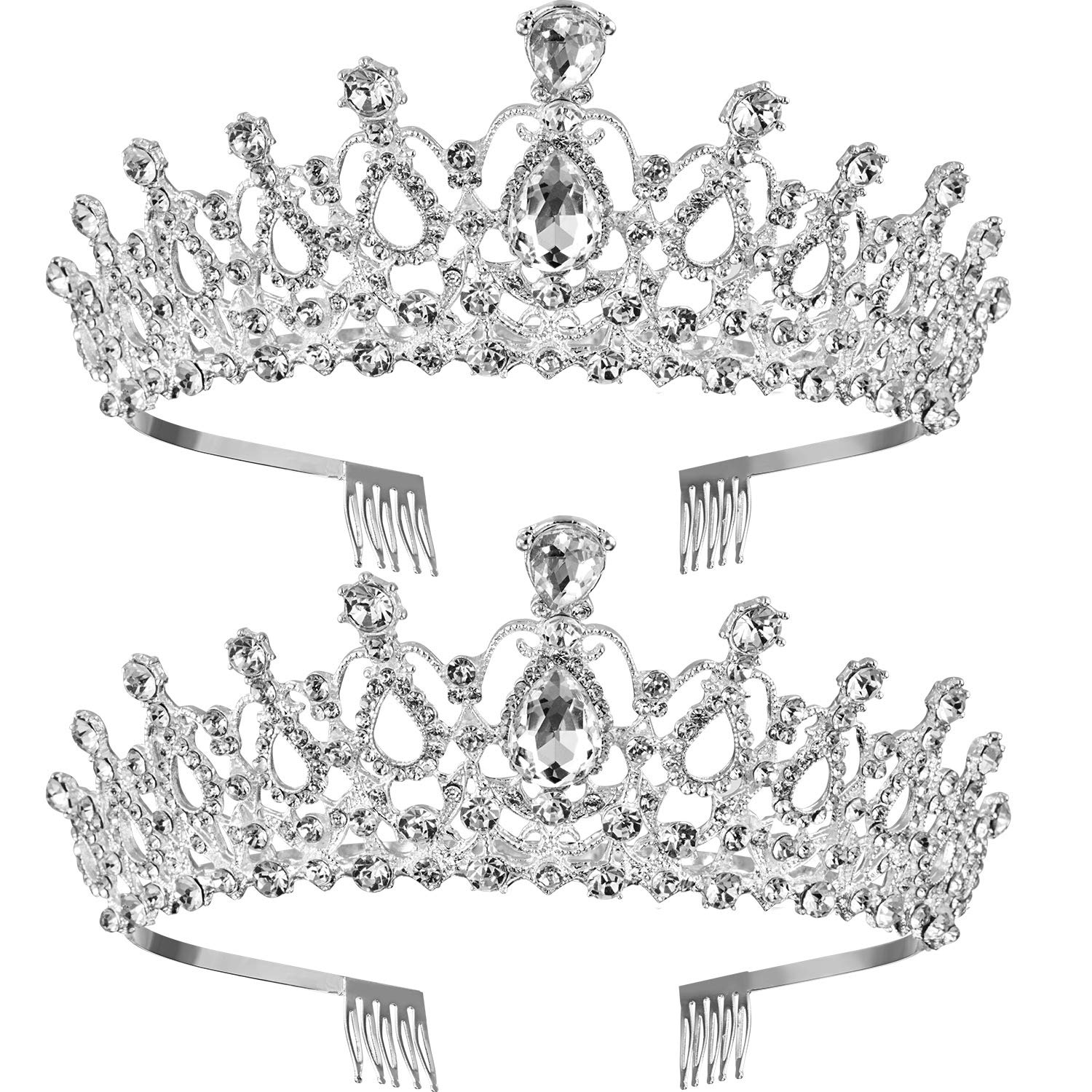 TecUnite 2 Pack Wedding Crown, Crystal Rhinestones Crown Princess Crown with Comb Exquisite Headband