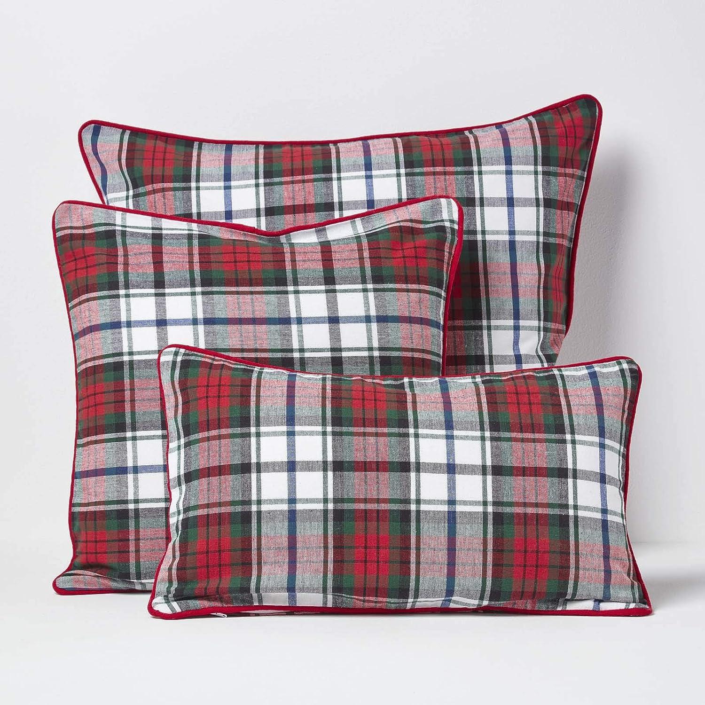 Housse de Coussin Rayures Rouge et Blanc Tartan Macduff 30 x 50 cm 100/% Coton HOMESCAPES