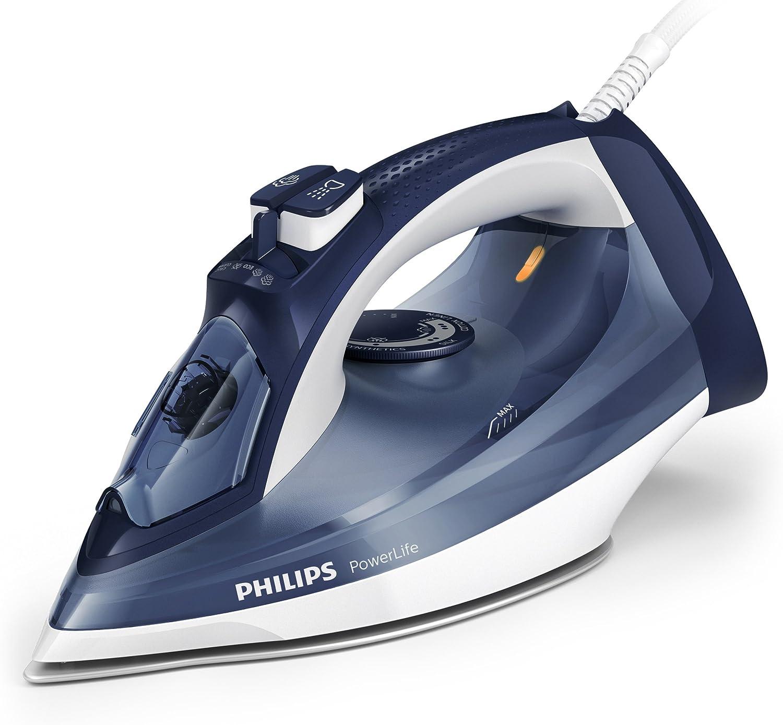 Philips Powerlife GC2994/20 - Plancha Ropa Vapor, 2400 W, Golpe Vapor 140 g, Vapor Continuo 40 g, Suela Steam Glide, Antical Integrado