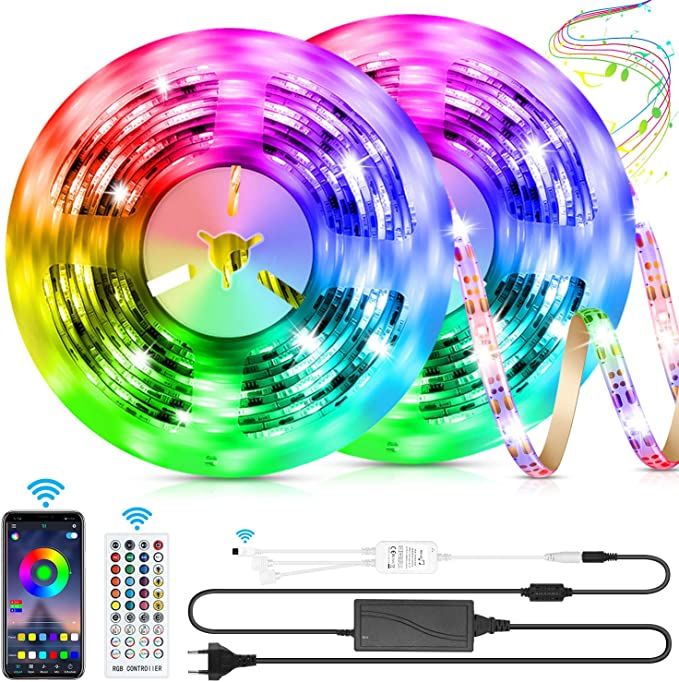 LED Strip 10 m LED Strip Light RGB LED Strip 5 m x 2 with Remote Control Music-Sync Bluetooth LED Strip with App Controller, SMD5050 Colour Changing LED Fairy Lights for Home TV Kitchen Party: Amazon.de: Beleuchtung