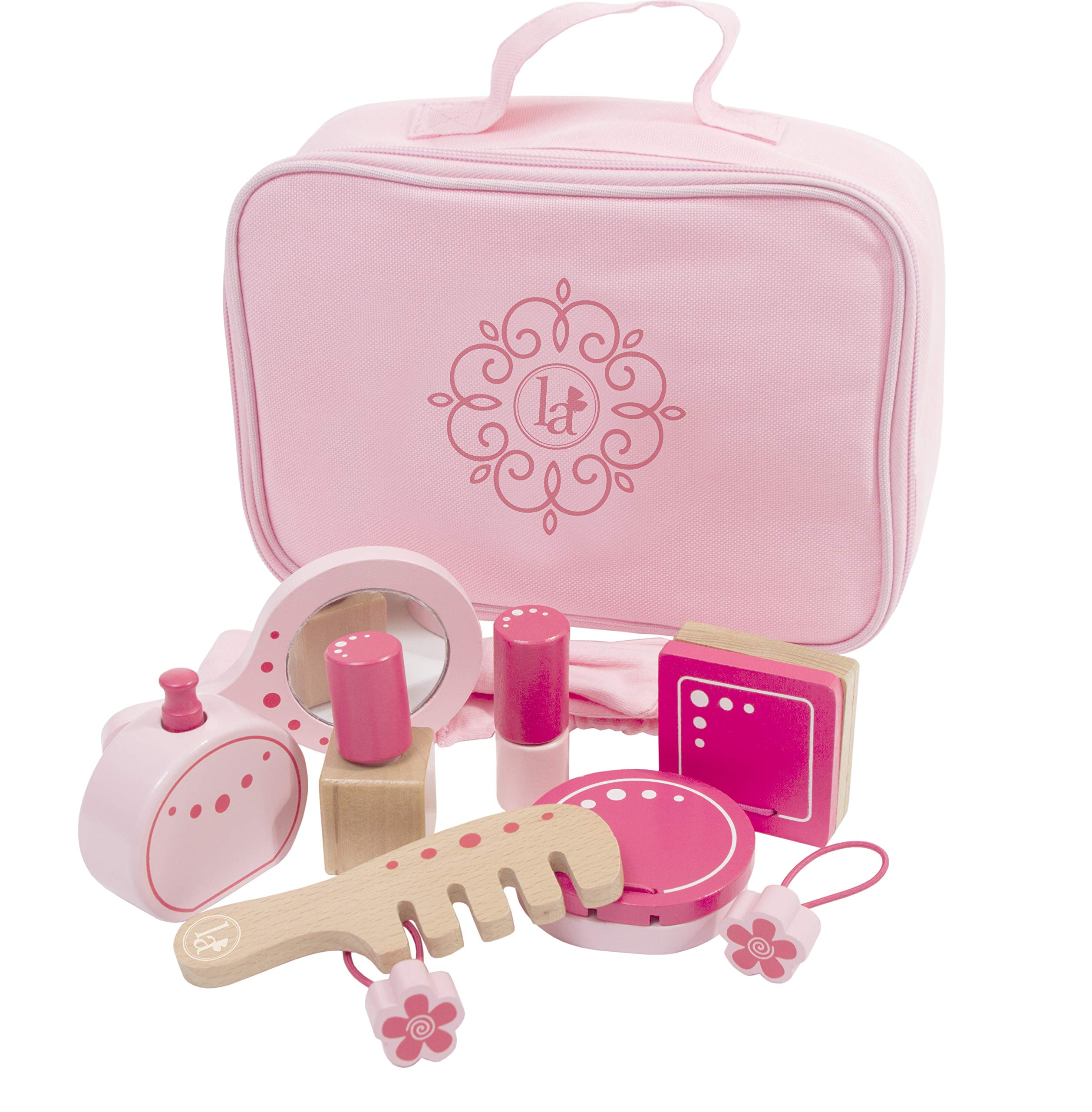 Little Adventures Little Beauty Salon Beautician Wooden Toy Set with Carrying Case Pink by Little Adventures (Image #3)