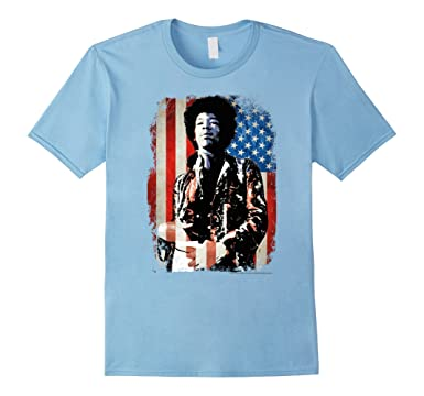 Amazon Com Jimi Hendrix Distressed American Flag Graphic T Shirt