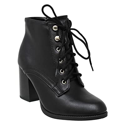 MVE Shoes Womens Stylish Soda Comfortable Lace Up Block Chuny Heel | Knee-High