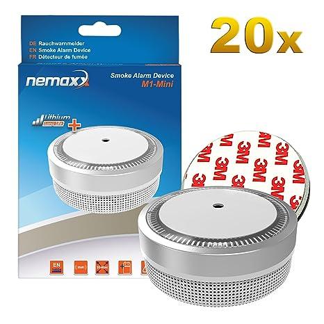 20x Nemaxx Detector de Humo M1-Mini Plateado - sensibilidad fotoeléctrica - Certificado VDS y con batería de ...