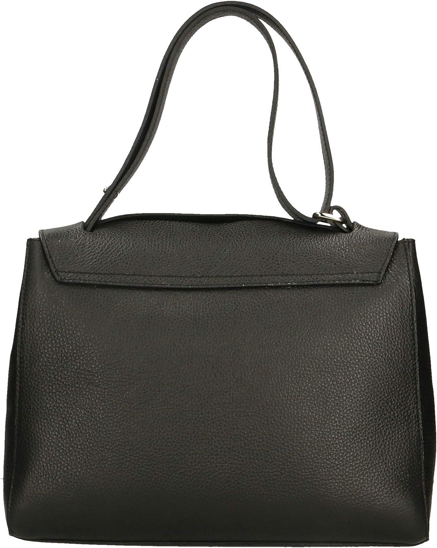 Roberta Rossi Miriam borsetta a mano purse classica grande style Top Handle bag Donna Vera Pelle Dollaro Made in Italy 33x25x14 750 gr RR33ST17CGLSLV Black