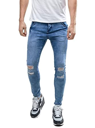 61a1d91bb78e Sarriben Men's Distressing Super Skinny Stretch Knee Ripped Jeans In Mid  Wash Blue at Amazon Men's Clothing store: