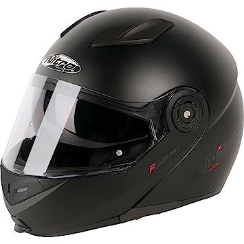 187216S02 - Nitro F345 Uno DVS Flip Front Motorcycle Helmet S Satin Black (02)