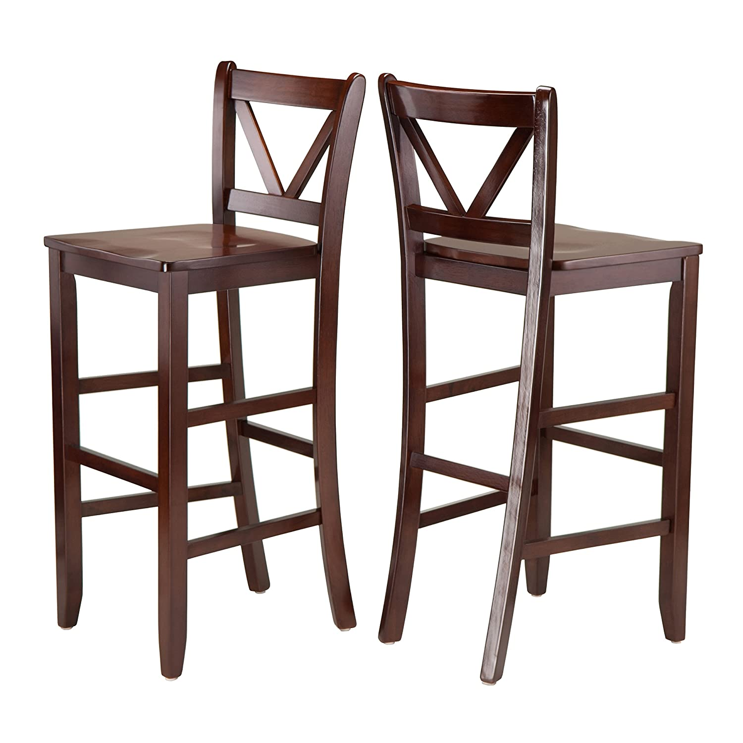 Amazon.com: Winsome Victor 2-Piece V-Back Counter Stools, 24-Inch ...