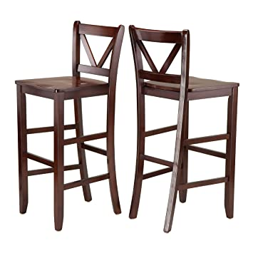 Winsome Victor 2 Piece V Back Bar Stools Inch Brown