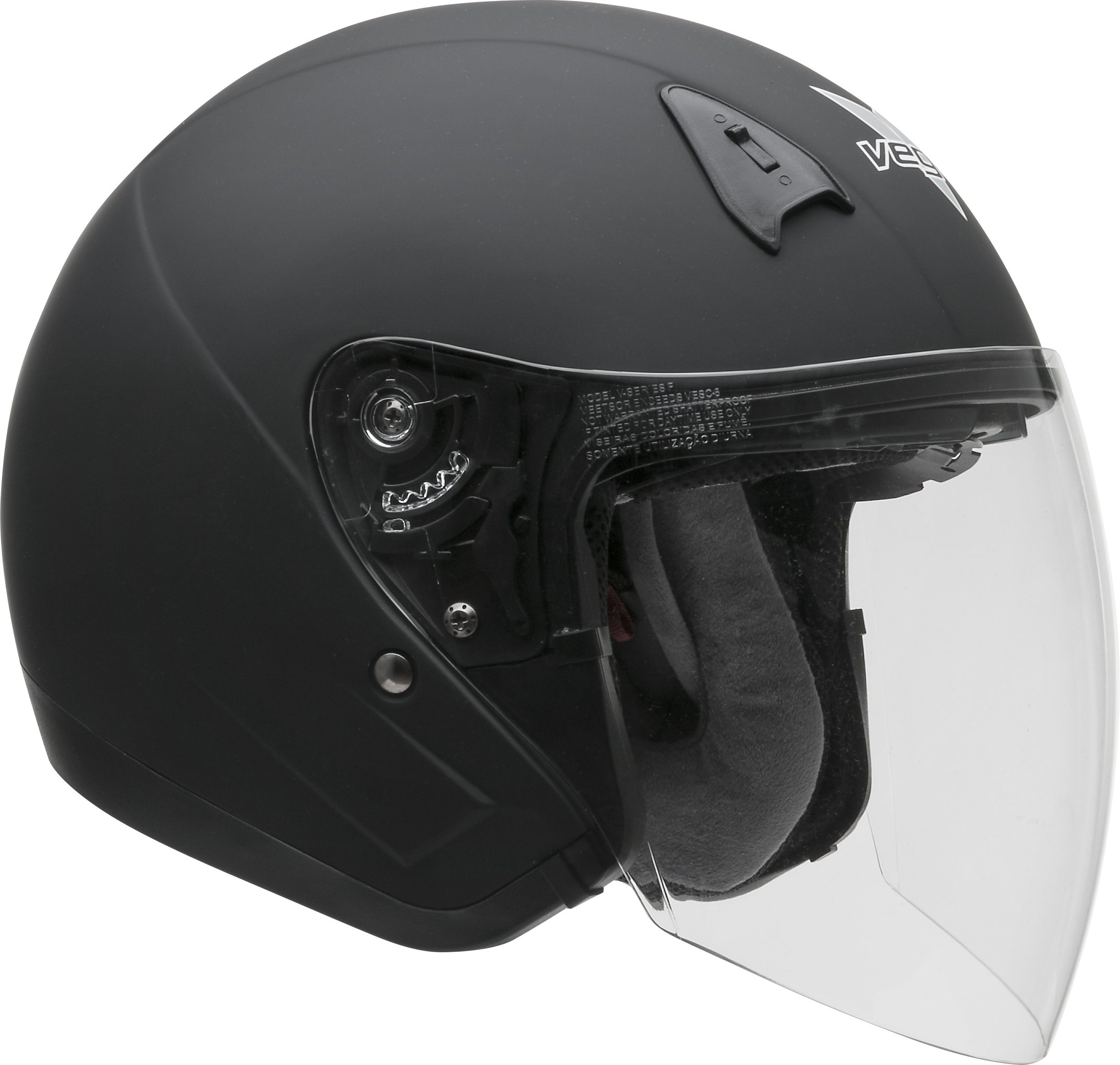 Vega Helmets VTS1 Open Face Motorcycle Helmet with Inner Sunshield - DOT Certified Full Face Shield & Visor Motorbike Helmet for Cruisers Street Bike Scooter Touring Moped Moto (Matte Black, Large) by Vega Helmets