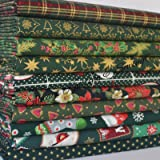 Always Knitting & Sewing - 10 Piece Christmas Green mix, 100% cotton fabric, small piece fabric bundle, size ; 25cm x 25cm