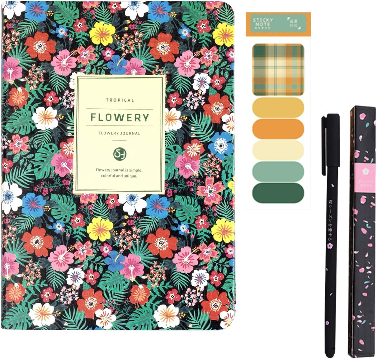 Hardcover Flowery Journal with Cherry Blossom Pen and Morandi Color Stickers 2021 Monthly Weekly Personal Planner for Academic or Workplace