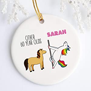 Scott397House Christmas Ornaments Ceramic Round Hanging Ornament Personalized 60th Birthday Christmas Ornament 60th Birthday Gifts For Women Ornament Funny Sixtieth Birthday Gift
