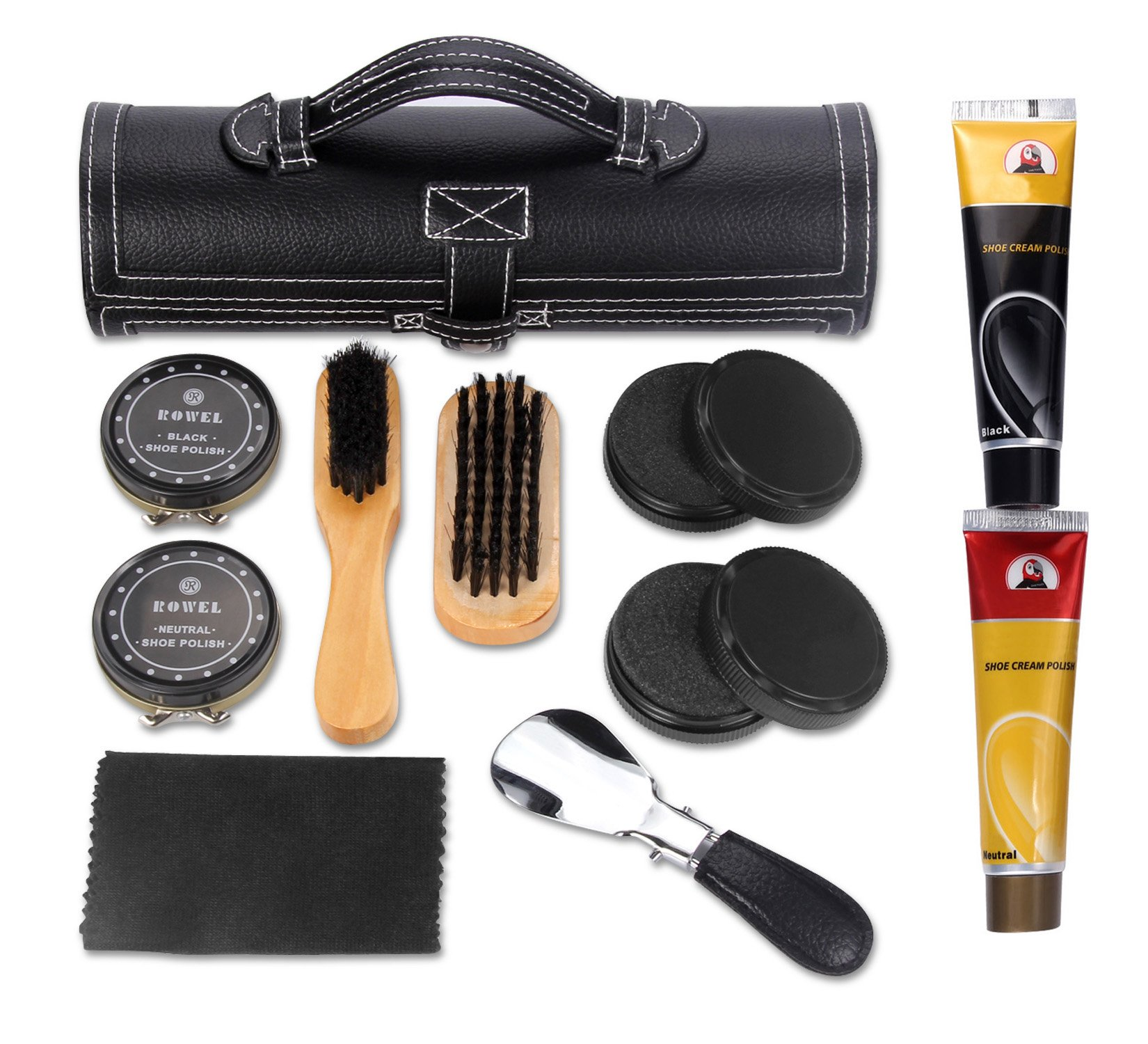 11 in 1 Travel Shoe Shine Kit with PU Leather Sleek Elegant Case Black