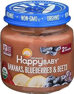 HAPPY BABY Organic Stage 2 Bna Blbry Beet Baby Food, 4 OZ