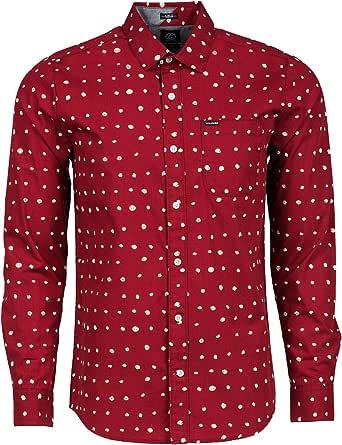 Volcom – Camisa de manga larga de lunares, para hombre - Rojo ...