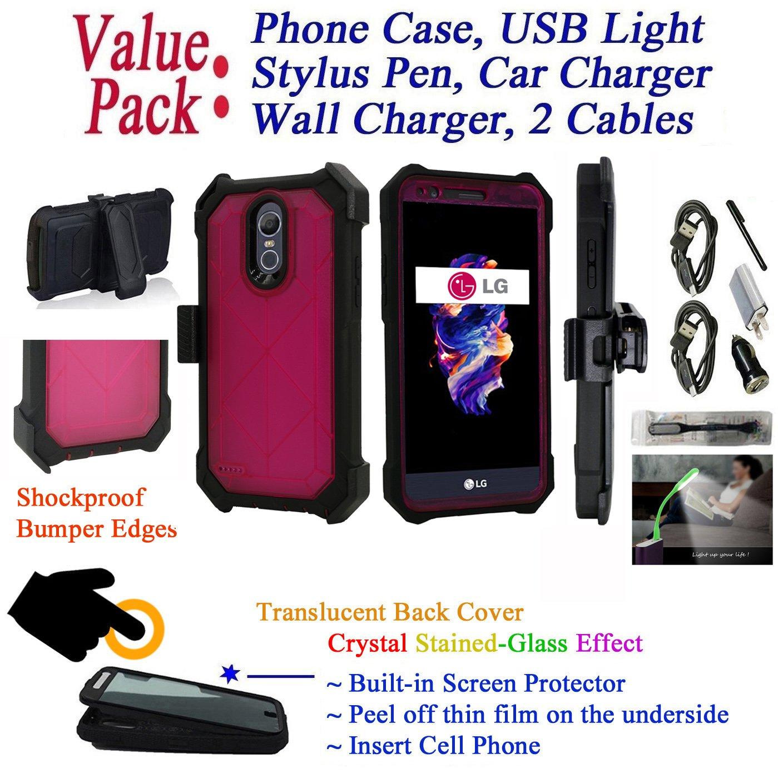 Value Pack + for 5.3'' LG K20 K20 + PLUS K20 V LV5 Case Crystal Holster Phone Case 360° Cover Screen Protector Clip Kickstand Armor Shock Bumper (Pink)