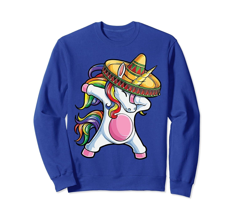 Dabbing Unicorn Sweatshirt Cinco de Mayo Rainbow Sombrero-alottee gift