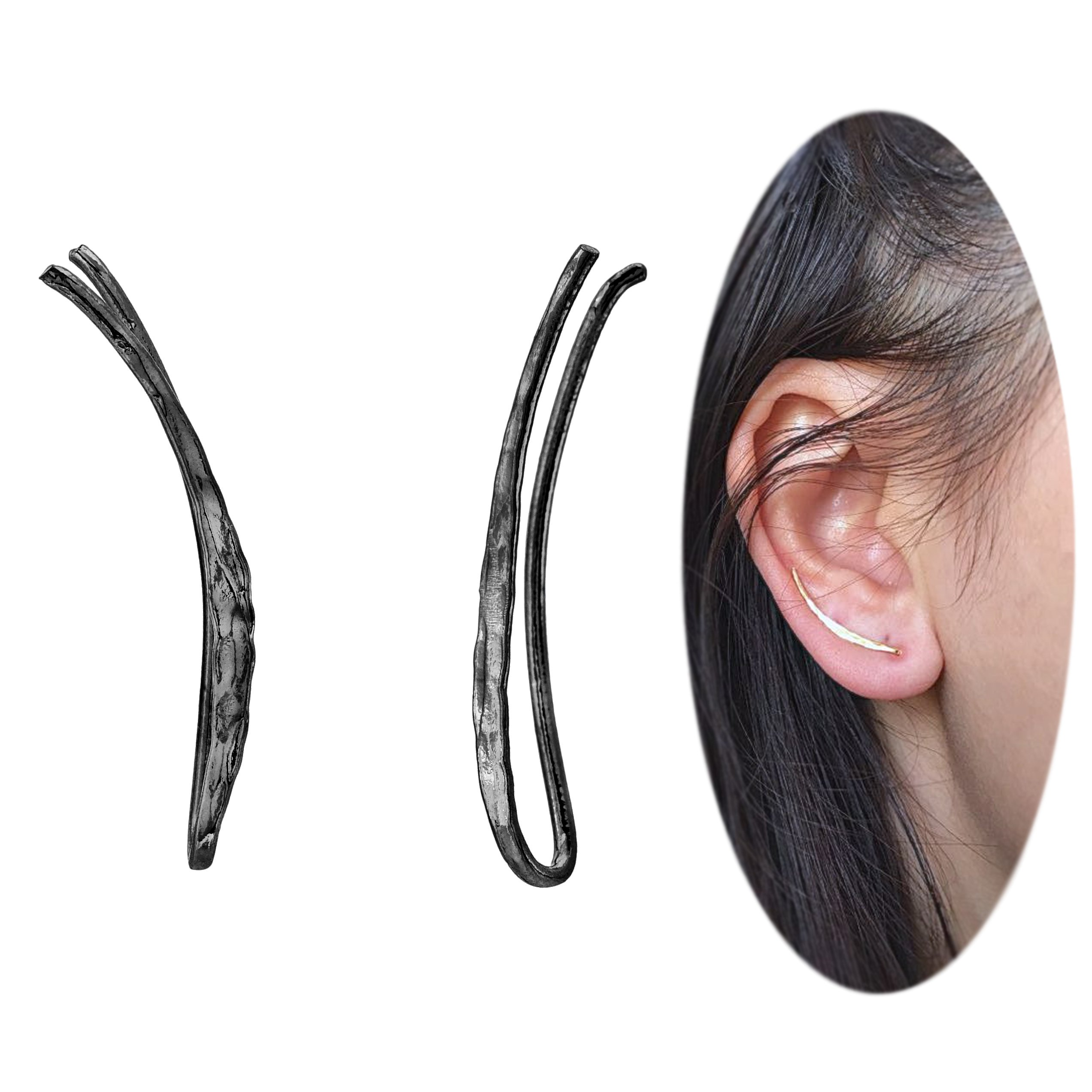 Ear Climber Crawler Cuff Earrings - 925 Sterling Silver with Black Gold Plating