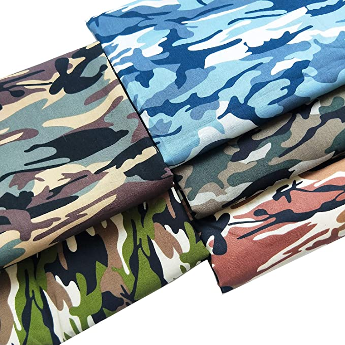 "ZAIONE 5pcs 18.8""x18.8"" (48cm x 48cm) Fat Quarter Camouflage Print 100% Cotton Camo Poplin Fabric Cotton Fabric Quilting Fabric Dressmaking Shirts Clothes Sewing Patchwork DIY Craft"