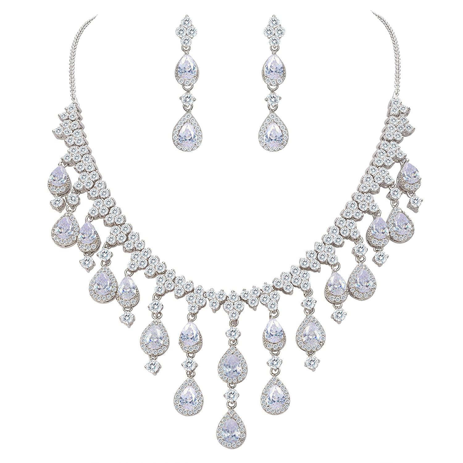 Vintage Style Jewelry, Retro Jewelry EVER FAITH Womens Cubic Zirconia Gorgeous Water Drop Dangle Necklace Earrings Set Silver-Tone $38.99 AT vintagedancer.com