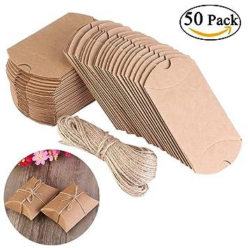 NUOLUX Cajas Vintage Kraft marrón a rústico Shabby envolver cajas de dulces de regalo con cuerda boda Favor paquete de 50: Amazon.es: Hogar