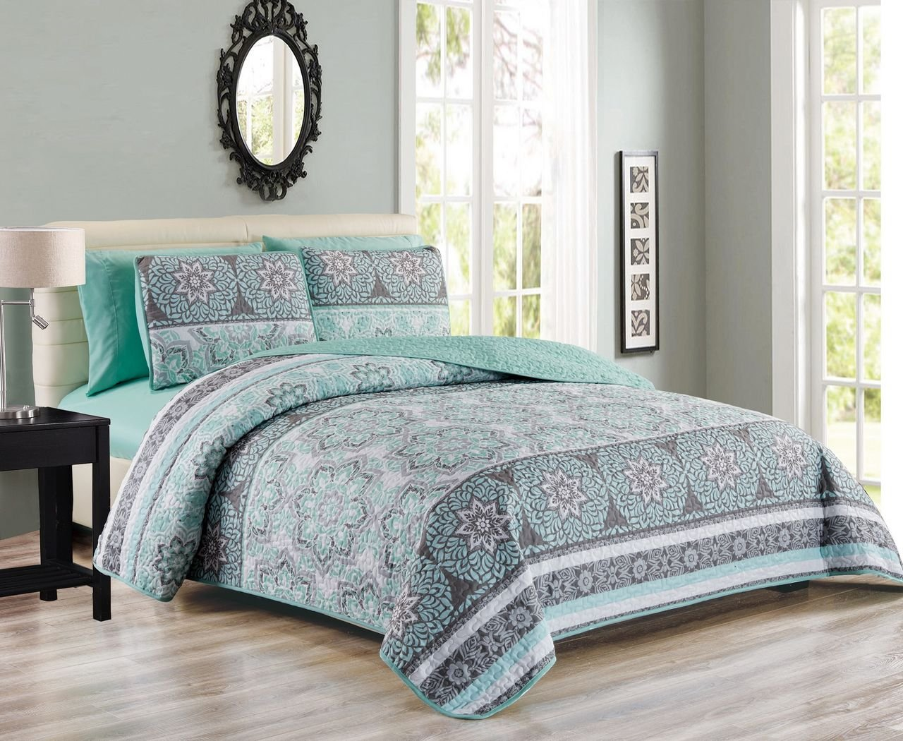 KingLinen 6 Piece Medallion Floral Patchwork Reversible Bedspread/Quilt with Sheet Set Queen