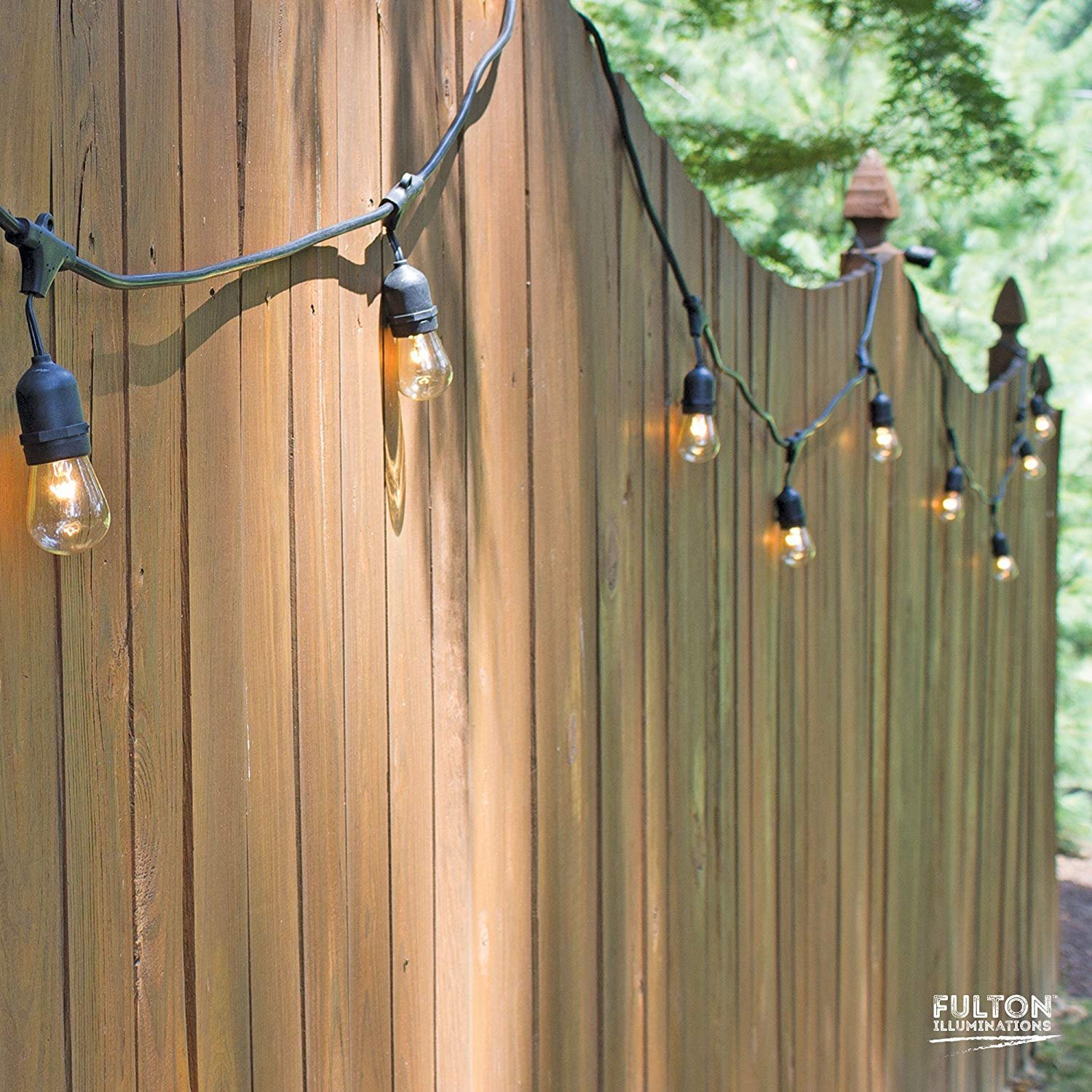 Fulton Illuminations S14 24 Bulbs Outdoor String Lights with 6 Extra Bulbs and 13 Ft Extension Cord, 48 Feet - Commercial Weatherproof Patio String Lights by Fulton Illuminations (Image #3)