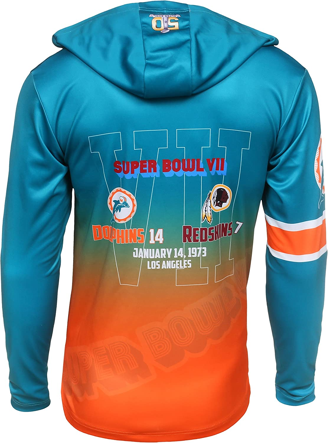 FOCO NFL Miami Dolphins Super Bowl VII Champions Hoody Tee Small