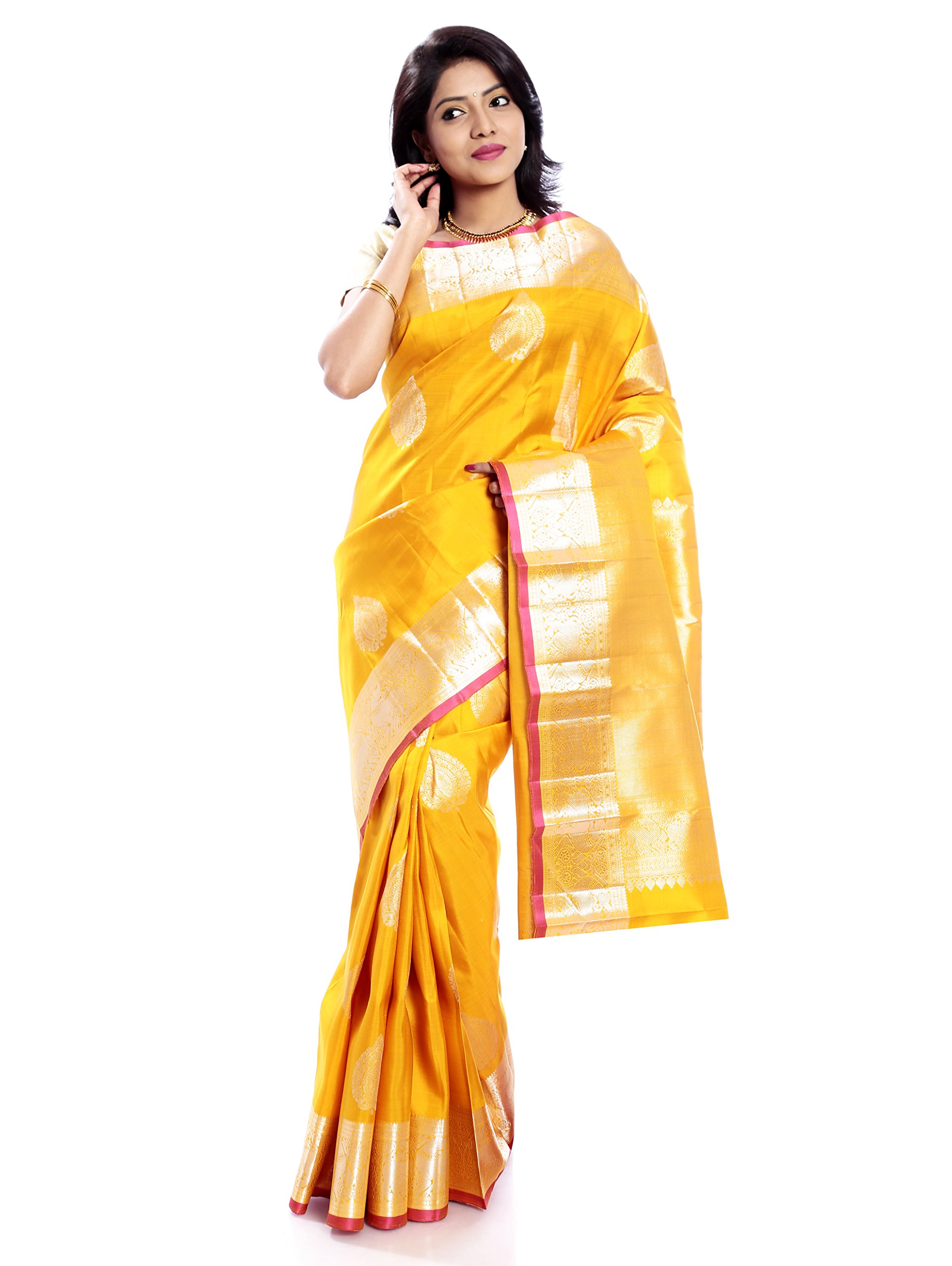 Mandakini — Indian Women's Kanchipuram - Handloom - Pure Zari & Pure Silk Saree (Yellow ) (MK211) by Mandakini (Image #1)