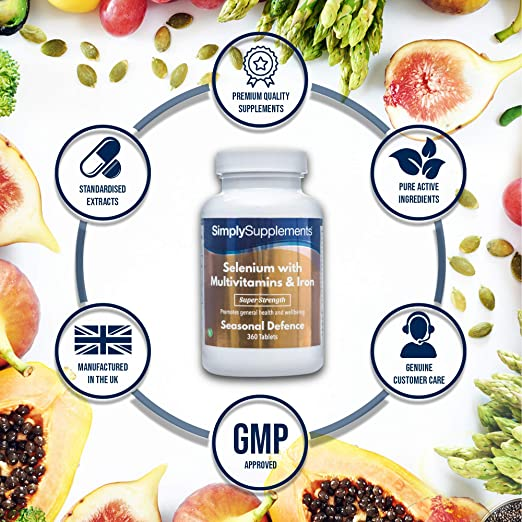Selenio 220 mcg con Multivitaminas y Hierro - 360 comprimidos - hasta 1 año de suministro - Refuerza la función de la tiroides - SimplySupplements: ...
