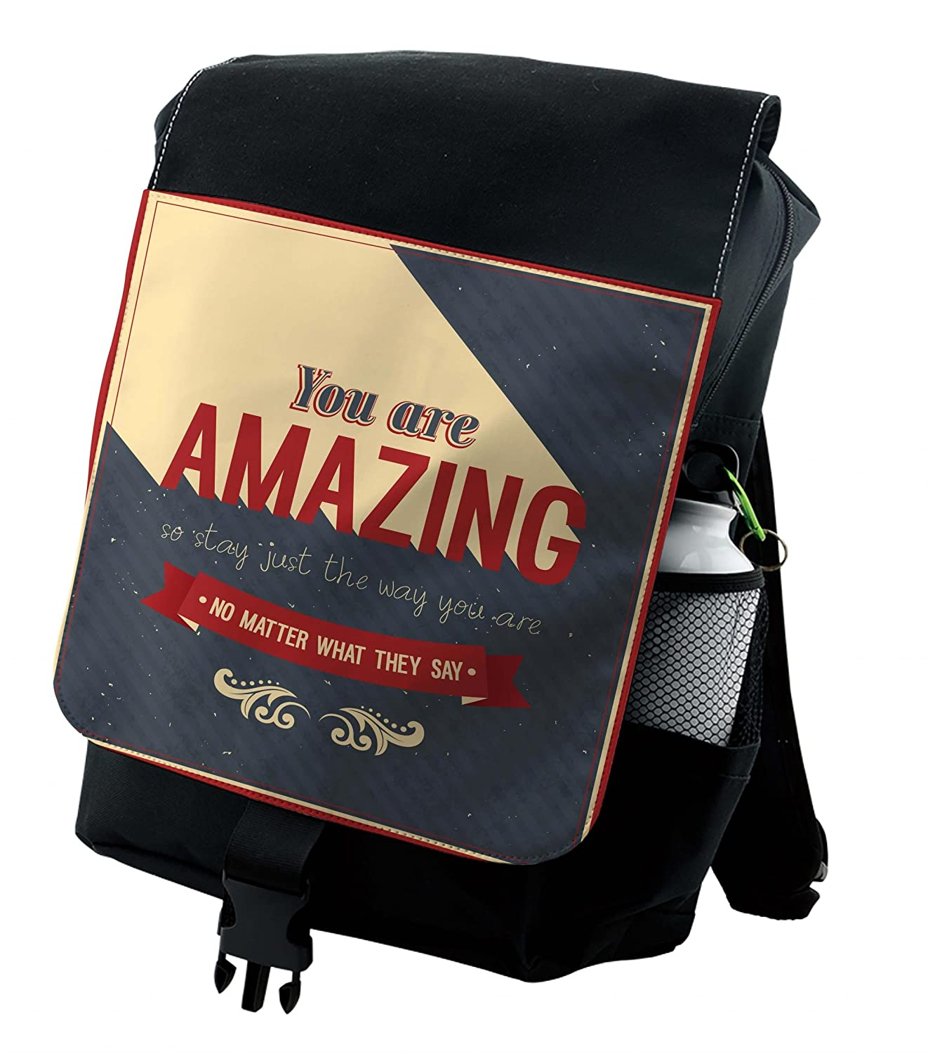 14cac283010b Amazon.com | Lunarable Quote Backpack, You are Amazing Lettering ...