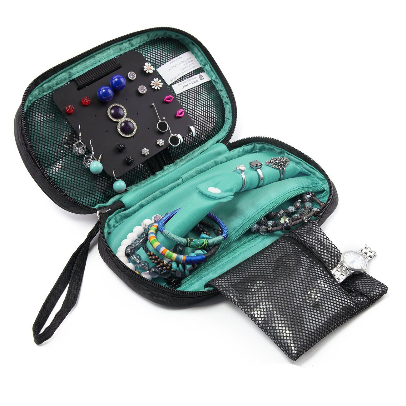 HOYOFO Portable Jewelry Bags with Straps Travel Jewelry Organizer Case for Women Black Storage for Jelelries