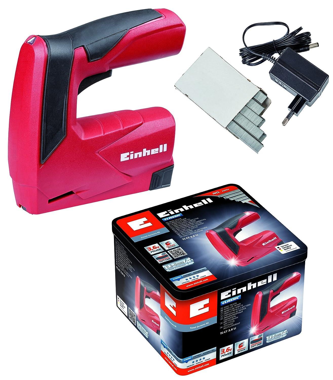 Einhell TC-CT 3,6 Li - Pack con grapadora a batería y 1000 grapas, batería 1.3 Ah, cargador, 3.6 V, color rojo y negro